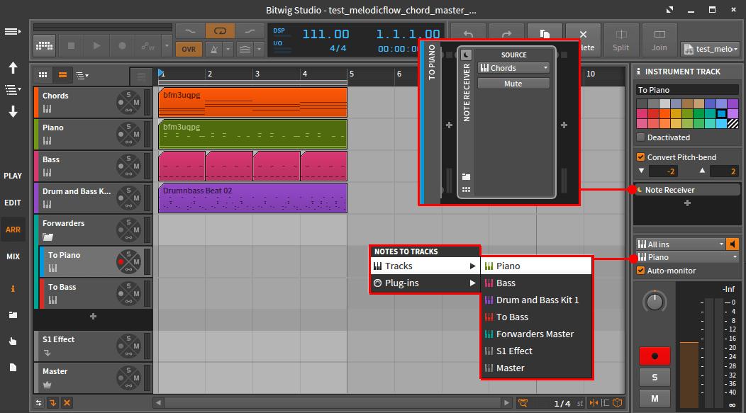 Bitwig chord master track